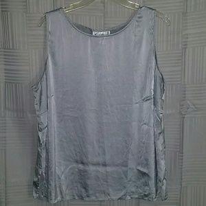 Diane von Furstenberg 2x Silver Silk Tank Top Cami